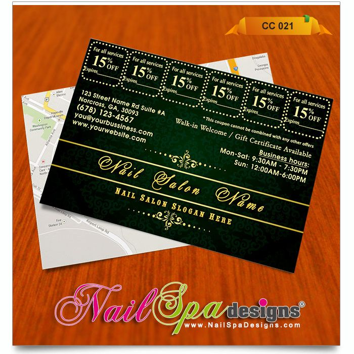 Best Nail Spa Coupon Card Design Images On   Card