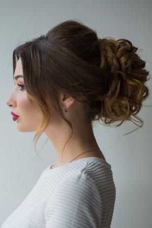 Ancient greek goddess hairstyles for long hair, wedding bun hairstyle with braids and curls