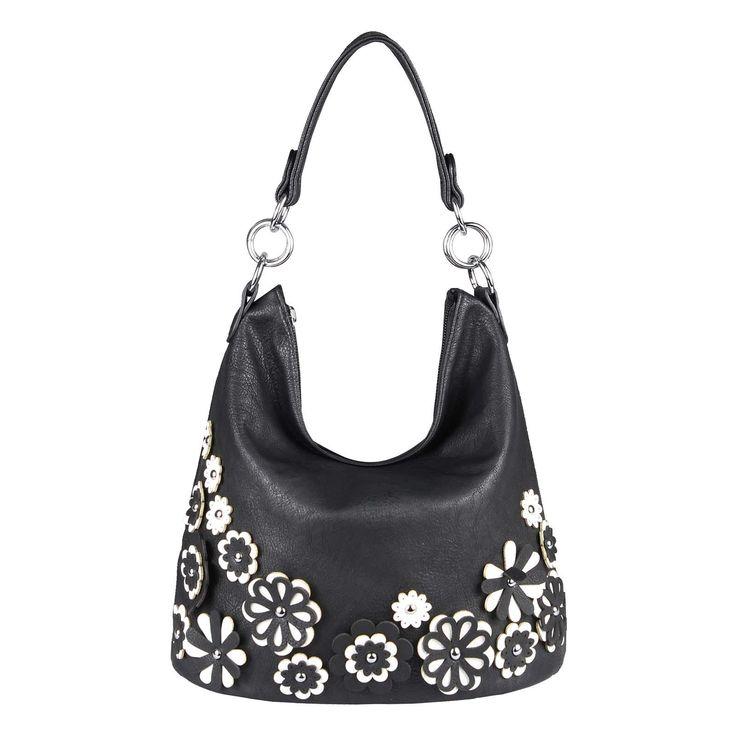 , WOMEN'S HANDBAG HOBO-BAG Shoulder Bag Shoulder Bag Shopper Tote Bag Pouch CrossOver FLOWER-BAG Flower Applique Black