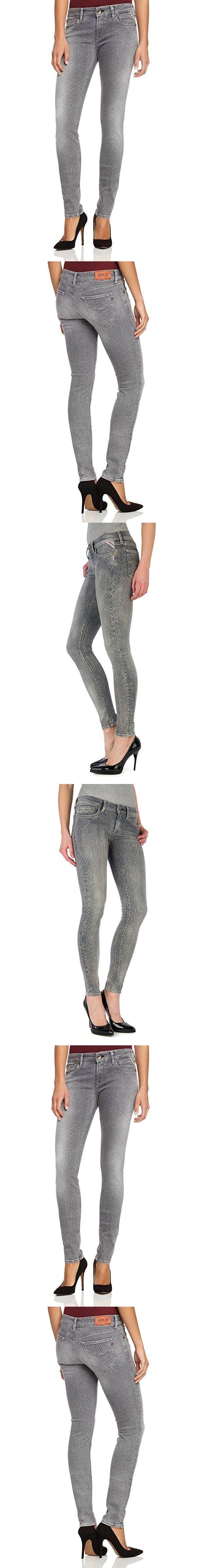 Replay Damen Skinny Jeans Luz WX689 Diese Röhre von Replay sollte in keinem gut sortierten Kleiderschrank fehlen. Die hautenge Jeans passt sich dank des Stretch-Anteils und ihrer robusten Qualität perfekt an die Haut an. Mit engem Print-Shirt oder Longbluse, High Heels und interessanten Accessoires gelingen sexy Outfits wie von selbst. Die Luz von Replay ist ein Must-Have für jede moderne Frau.. Qualitativ hochwertig verarbeitet. Niedriger Bund. Verschluss: Reißverschluss.