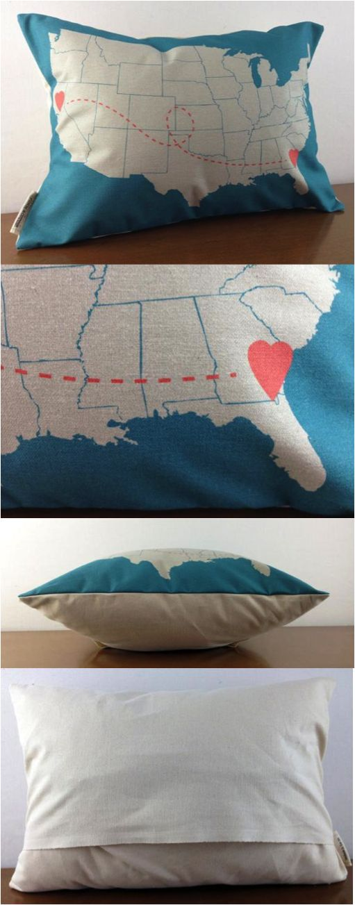This pillow is an adorable gift for your long distance sweetheart or makes a perfect graduation present, wedding gift or housewarming gift for someone who's recently moved. Let someone special know that even though there's distance between you, you're always connected.