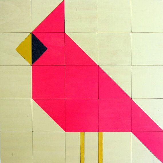 Wooden Quilt Block (Cardinal)