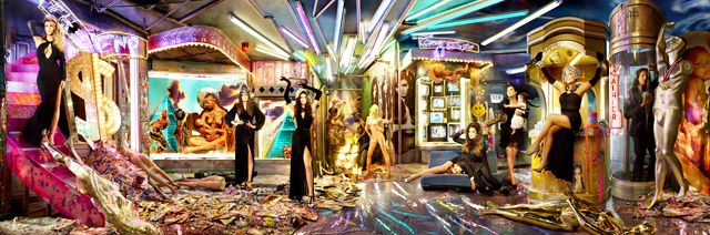 Enlisting the help of celeb photographer David LaChapelle in 2013, the Kardashian family changed up their Christmas card style by posing on a futuristic, carnival-like set for a panoramic snapshot. Noticeably missing from the photo were Rob Kardashian, Scott Disick, Lamar Odom and Kim's fiance Kanye West and daughter North.