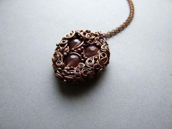 Cherry Quartz Necklace Healing Autumn Necklace by KicaBijoux