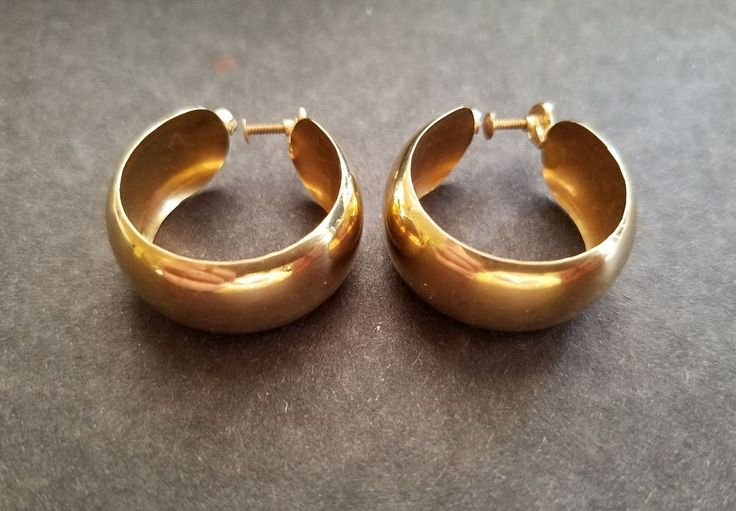"Vintage 14k Gold Earrings-Screw Back Style-7/8"" Diam Hoop-7/16"" W-5.7g Not Scrap 