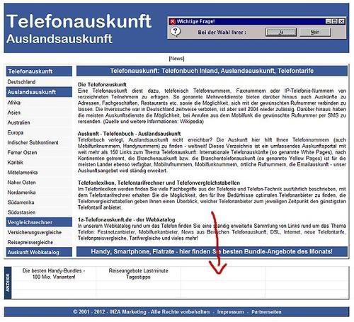Startseiten-Textlink auf 1a-telefonauskunft.de! Textlink-Werbung auf der Startseite von 1a-telefonauskunft.de, sehr alte Domain (Baujahr2001)! Ideal für Handy-Anbieter, Telefontarif- und Internetpreisvergleiche, DSL-Angebote, nur wenige Textlinks (10) - keine Rotation, permanente Einblendung.    Information und Buchung:  http://www.pms-auktionen.de/cgi/auktionen/jump.pl?ID=298