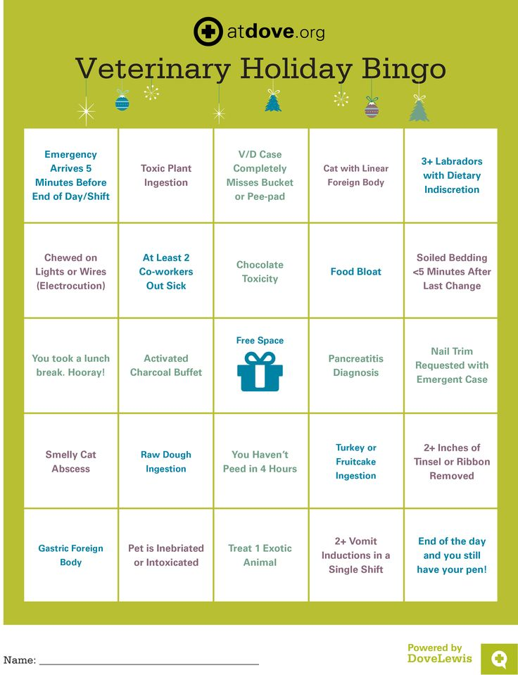 This year, @atdoveorg is celebrating the season with Veterinary Holiday Bingo! Save the picture below, print it out, and play Bingo with your co-workers. Each square contains a common holiday diagnosis or work challenge. Add a little holiday spirit to your shift, #vetmed style. #veterinary #bingo #holiday #fun #activities