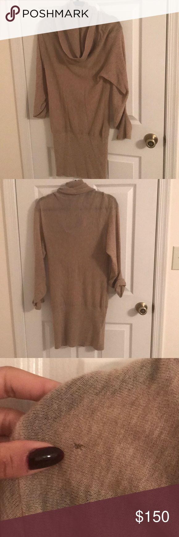 BCBG beige cashmere dress in size M BCBGMaxazria beige cashmere dress in size M. Flattering shape and with cowl neck. Small hole at neck, can easily be repaired. Smoke free, pet free home. Feel free to make an offer BCBGMaxAzria Dresses