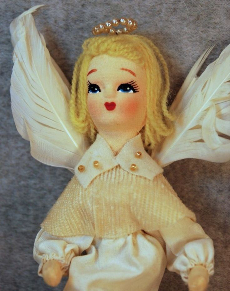 Vintage Feather Duster Angel Detail Christmas Fairy Christmas