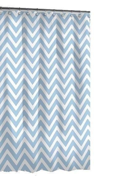 Chevron Shower Curtain White/Blue
