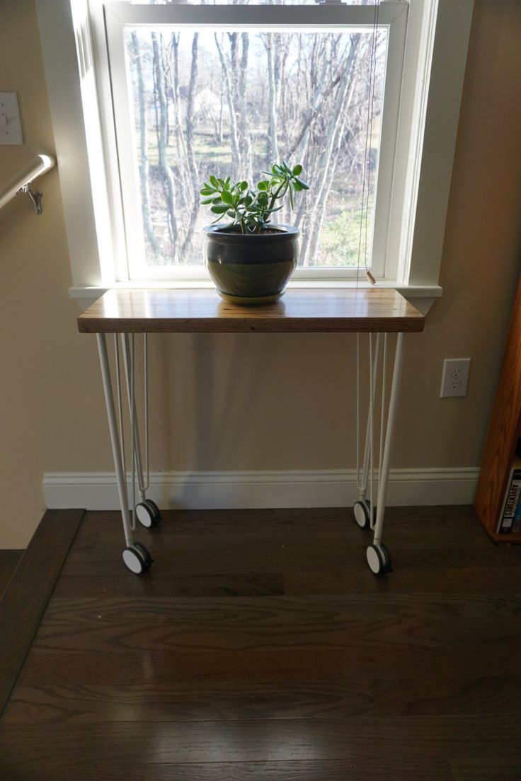 Small Desk/Plant Stand on Casters by LookoutMTNstudio on Etsy