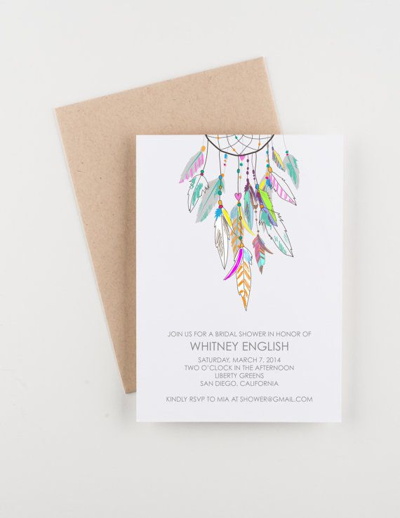 Boho Dreamcatcher Bridal Shower. Save The Date. Wedding Invitation. Wedding Announcement. This invitation features a vibrant dreamcatcher