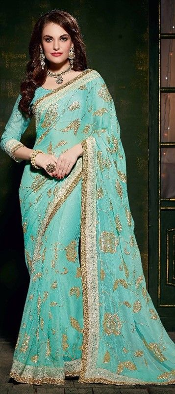 183133 Blue  color family Embroidered Sarees, Party Wear Sarees in Faux Chiffon fabric with Machine Embroidery, Sequence work   with matching unstitched blouse.