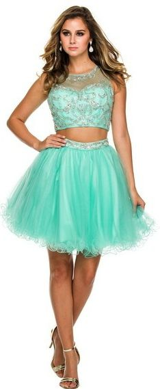 Homecoming Dresses Prom Dresses<BR>6052<BR>Two piece outfit featuring sheer illusion jewel neckline over sweetheart beaded crop top
