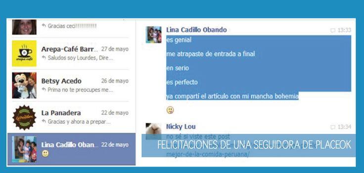 """""""Tu artículo es genial, me atrapaste de entrada a final, en serio, es perfecto ya compartí el artículo con mi mancha bohemia"""" (Lina Cadillo, Lima, Perú)   Felicitaciones a placeOK vía FB."""