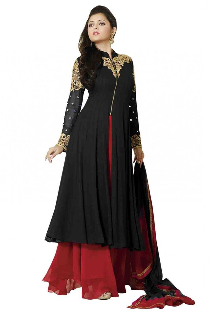 Bollywood Drashti Dhami Georgette Party Wear Anarkali Suit in Black Colour