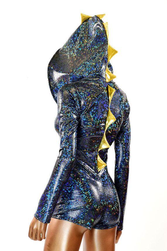 Noir brisé verre Dragon holographique pointu par CoquetryClothing
