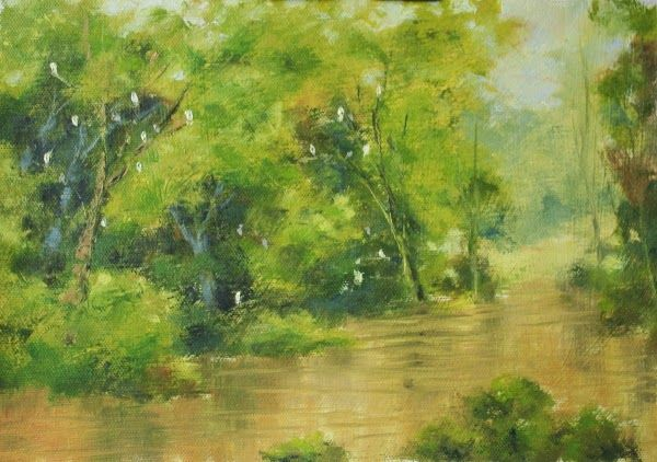 "My Arts and Creatives: Sparkles, Sengkang Floating Wetland, 9"" X 12"", Oil..."