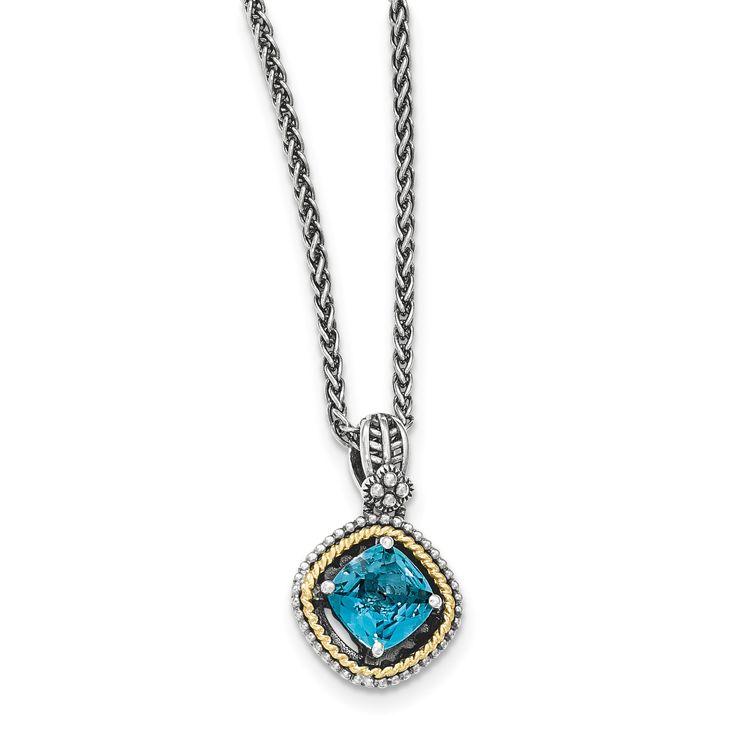 Sterling Silver w/14k London Blue Topaz Necklace QTC1381