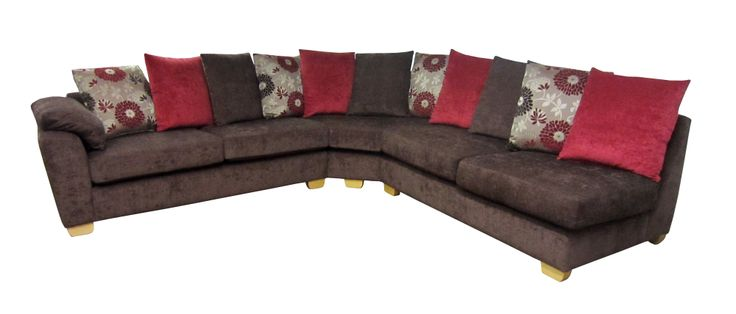 Brown and red Bordeaux curved corner sofa. Get your sofa made to measure.  Visit our website for more details and to view all our different styles of corner sofas.    http://drumbristonfurniture.ie/cornersofas.html