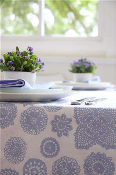 The Crafty Minx shares this doily print fabric from Dandi which also comes in a bold red print: Doilies Design, Dining Rooms, Decor Ideas, Prints Fabrics, Doilies Wisteria, Doilies Prints, Periwinkle Blue, Prints Tablecloths, Dandy