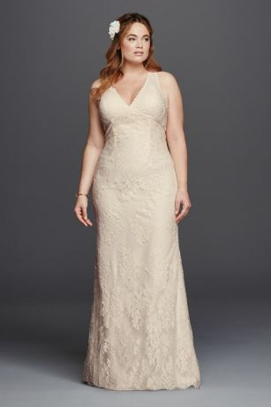 What's not to love about this all over floral lace sheath wedding dress with tank sleeves. Featuring a scalloped lace v-neckline, this detailed gown features an empire waist with grosgrain ribbon and open keyhole back. Wear this gown on your special day and you'll define elegance at its best!   Galina, exclusively at David's Bridal.  Also available in Regular, Petite, Extra Length and Plus Size Extra Length. Check your local stores for availability.  Sweep train. Fully lined. Back
