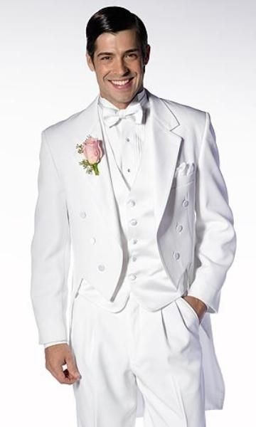 New Arrival White Tailcoat Groom Tuxedos Groomsmen Mens Wedding Suits Formal Dress (Jacket+Pants+Vest+Tie) NO:162