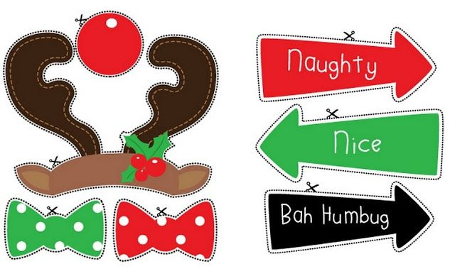 Free Printable signs and Rudolph Photo Booth Props.