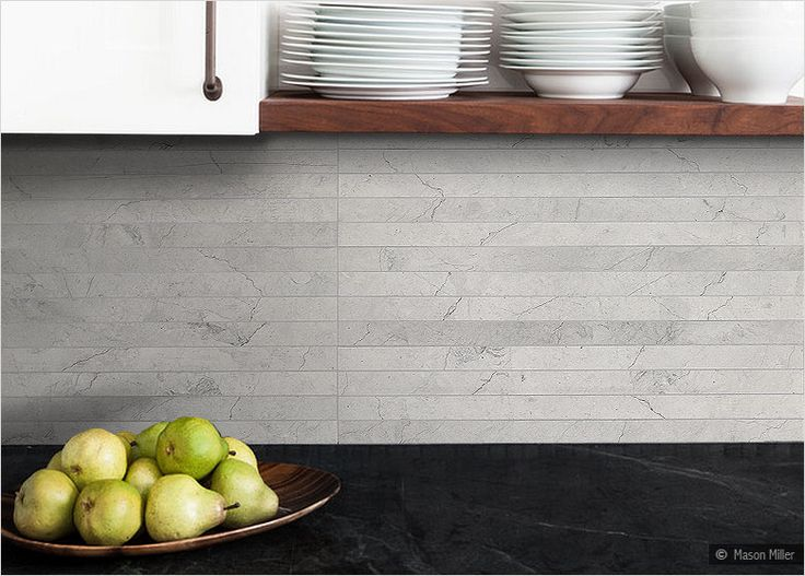 24 Long Gray Limestone Honed Backsplash Tile Modern