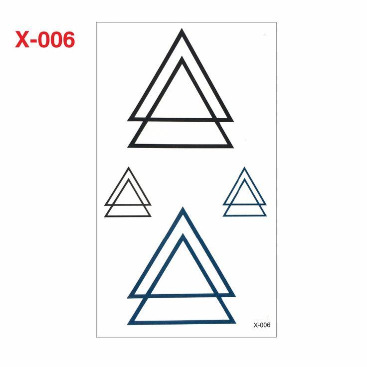 harajuku waterproof temporary tattoos for men women fashion 3d triangle design flash tattoo sticker Free Shipping