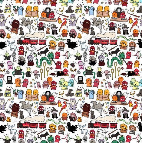 Harry Potter Doodle fabric by kirakiradoodles on Spoonflower