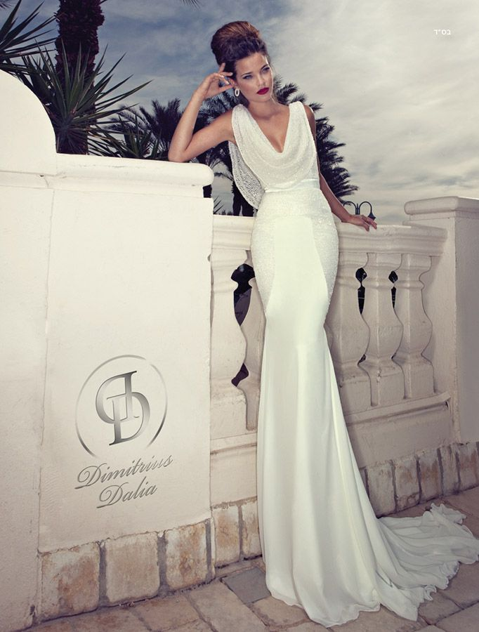 I know this is a Wedding dress (by Dimitrius Dalia), but I love the style (especially the neckline) and it would great in any color - long or short.