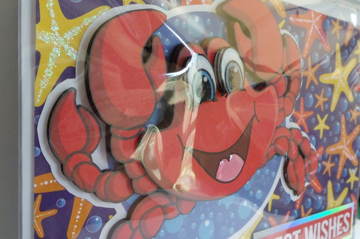 A5 3D crab with glittered starfish and glossy eye's and tongue with hand made envelope