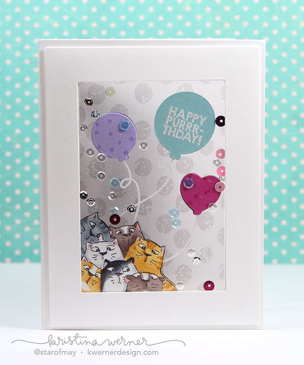 Art Impressions PURRRTHDAY Front and Backs Cling Rubber Stamps 4568 ... Handmade birthday window card.