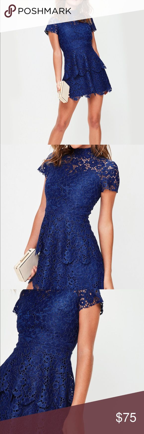 Missguided Blue Lace Dress Beautiful dress just didn't fit me! Only worn once to try on, tags still attached. Feel free to make an offer! Missguided Dresses Mini