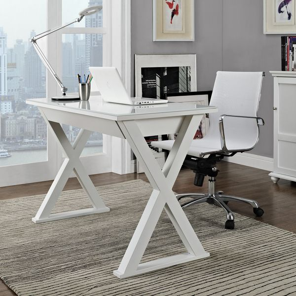 48 in. White Glass Metal Computer Desk - Overstock™ Shopping - Great Deals on Desks
