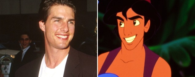Actors who inspired Disney characters (L-R) Tom Cruise , Aladdin