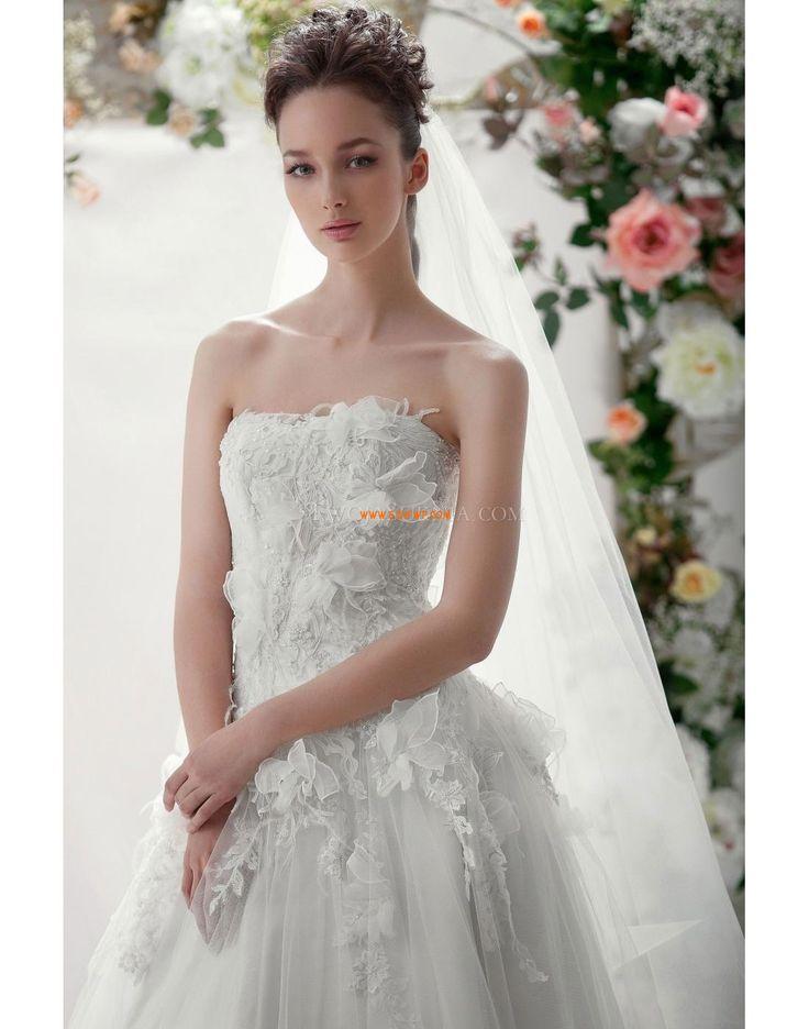 Bez ramiączek Bez rękawów Kwiat (y) Suknie ślubne 2014