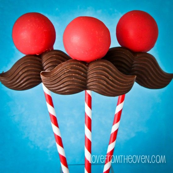 Mustache Cake Pops (Chocolate Covered Cherry Cakepops by Love From The Oven)