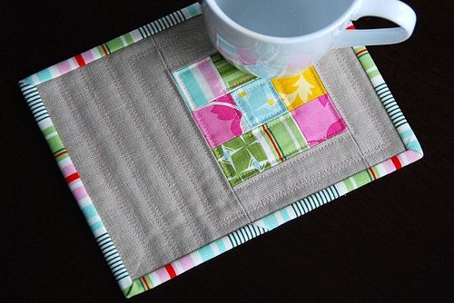 Scrappy Stack Mug Rug - a large coaster for your mug and snack - great for kids juice and a snack - throw in the wash - go green no need for paper napkin!