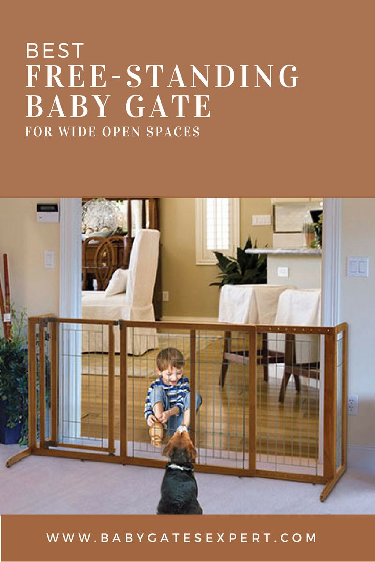 ~Best Free-Standing Baby Gate~ This baby gate clearly stands on its own 2 feet! It needs no help because it is free-standing and not afraid of wide open spaces!