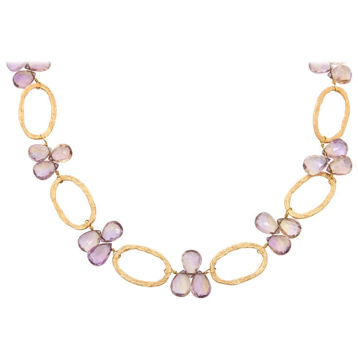 Dominique Cohen Amethyst Gold Necklace   From a unique collection of vintage link necklaces at https://www.1stdibs.com/jewelry/necklaces/link-necklaces/