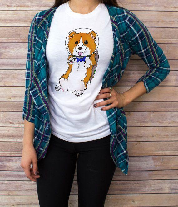 Vrouwen ruimte Corgi T shirt, V-hals, tank top, honkbal Tee, sweatshirt, S, M, L, XL
