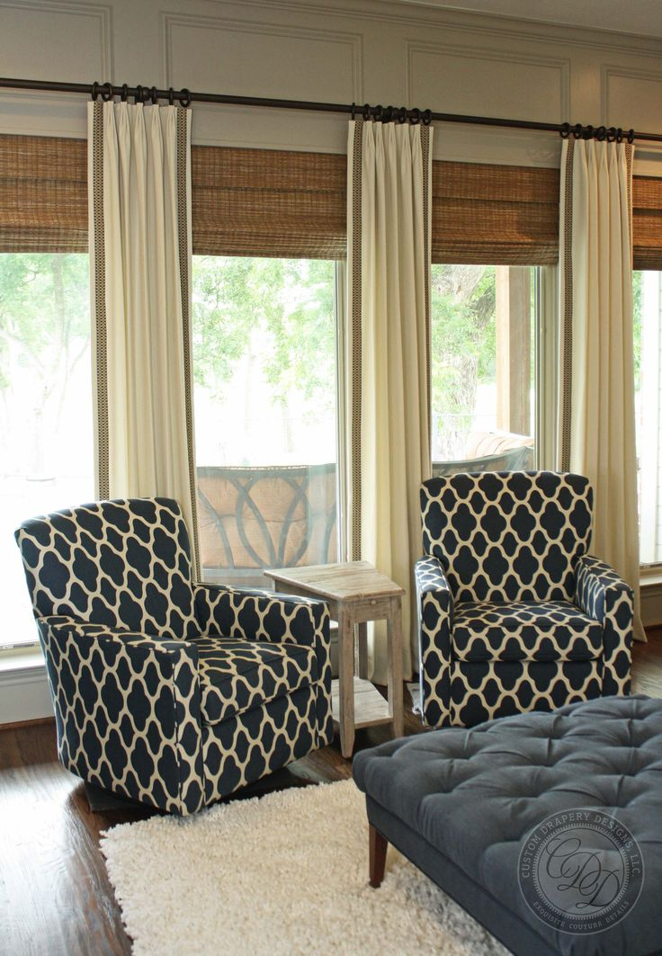 Custom Drapery Designs, LLC- Hunter Douglas Provenance Woven Wood with custom drapery panels