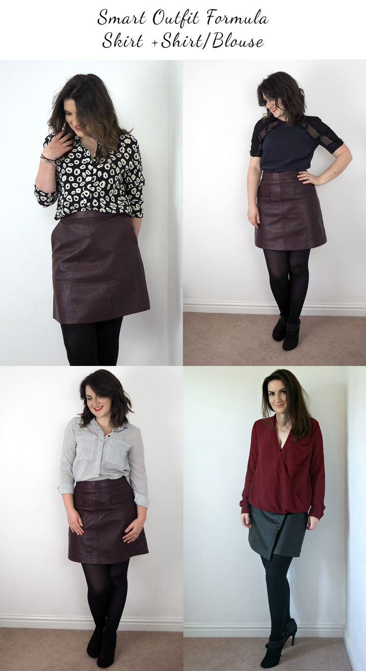 Super simple outfit formula for smarter occasions. Wear your leather skirt + a shirt or blouse for an easy to recreate outfit which works for most occasions