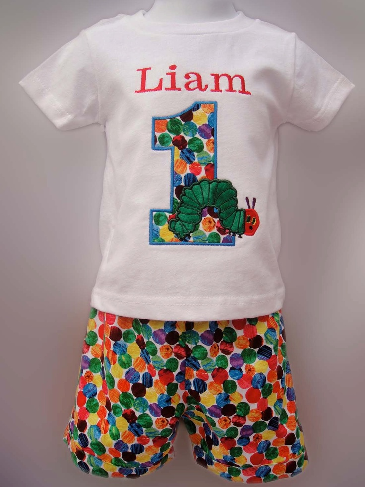 VERY HUNGRY CATERPILLAR Inspired Personalized Birthday  Embroidery Applique Shirt  or Onesie  and shorts or skirt. $42.00, via Etsy.