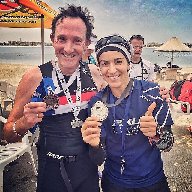 Thanks for a great photo and comments from @mstrengthfitness. MSF takes second place at 2xu Triathalon Championship Series in Mamzar. MSF Mark Wharrton again makes podium! Olympic distance. 2nd in age group. 🥈🏅While yours truly teamed up in a relay taking on the finish line run. 🥈 🏅. 1st place and 3rd place relay teams were all men.  Had to add that important bit 😌. Flower power 💥. ✨  Strength and conditioning, HIIT are all tough. Endurance sports takes the word tough to a different…