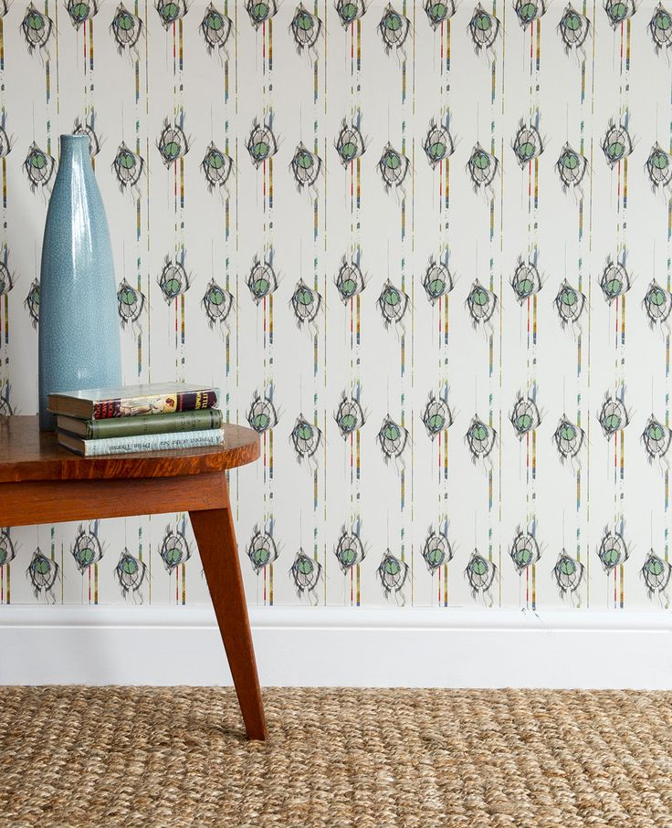 'Undulating Feather' luxury wallpaper, coated non-woven,180gsm, 52cm w x 10m roll. #luxury #wallpaper #bespoke #feathers #peacock