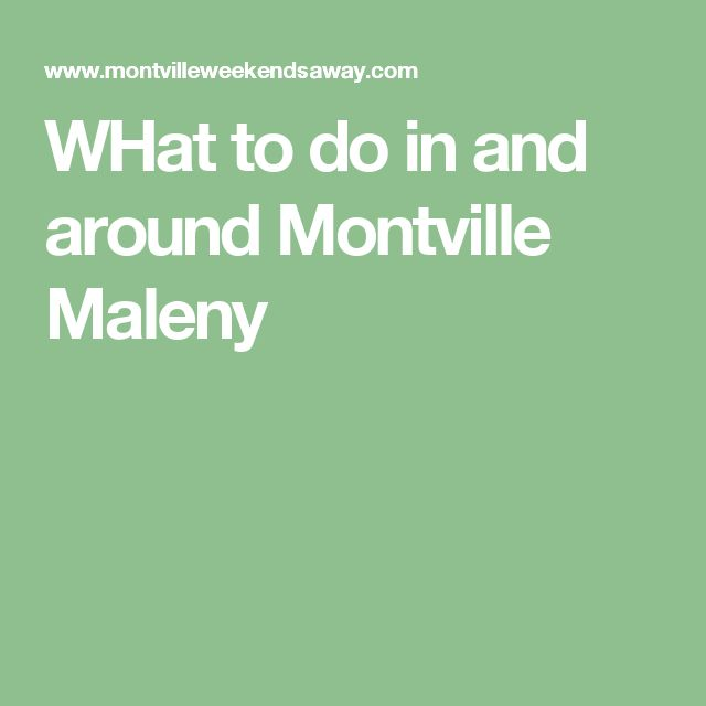 WHat to do in and around Montville Maleny