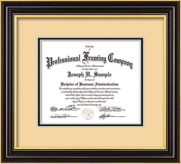 custom satin black document certificate frame black on gold mat professional framing company - Document Frames
